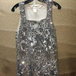 Alice + Olivia size medium silver sequin dress